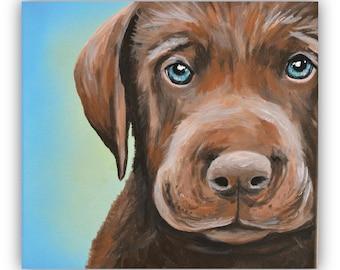 8x10 size canvas custom painted pet portrait sample 8x10 canvas acrylic chocolate lab puppy