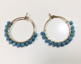 Swarovski turquoise hoop earrings