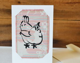 Postcard Card Combo. Pink Hen illustration mixed media art. Upcycled Textile Wall Art. Eco friendly.