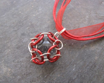 Caged Marble Necklace; Chainmaille; Red Jump Rings; Silver Jump Rings, Clear Marble
