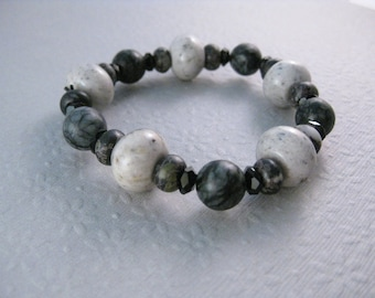 CLEARANCE, Bracelet, B 135, Black and Gray, stretch bracelet