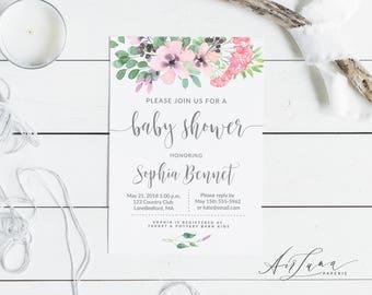 Greenery baby Shower invitation, Baby shower invitation, Gender neutral baby shower, floral baby shower, Neutral Leaves baby shower 016