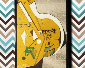 Home...Original graphic newspaper home wall decoration drawing...yellow black white...31 x 22 cm...Ready to hang on your wall