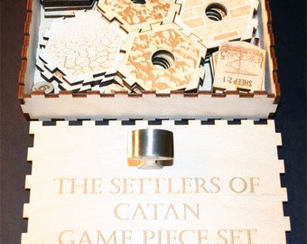 Complete Game Piece Set Compatible With Settlers Of Catan Includes Custom Storage Box to include expansion kit for 5-6 players