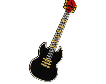 ab76 Guitar Skull musical instrument tattoo rock patching ironing application patches size 4 x 11.3 cm