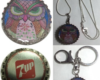 Old 7Up OWL Folk Art Drawing Soda Bottle Cap Keychain, Pendant, Necklace