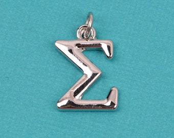 "4 SIGMA Greek Letter Silver Plated Charms Greek Sorority 3/4"" chs2216"
