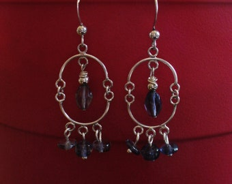 Iolite and Sterling Silver Chandelier Earrings
