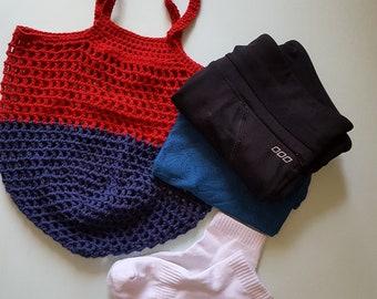 Natural Cotton Grocery Tote, Reusable String Bag, Crochet Bag, Shopping Bag, Eco-friendly, Zero Waste, Soft Bag, Foldable Bag, Handmade