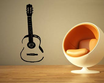 Wall Decal Sticker Acoustic Electric Guitar Punk Rock Alternative Music Melody Band Jazz Dj Composer Notes Piano ZX435