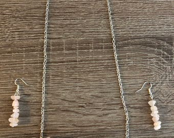 Beaded Bar Necklace and Matching Earring Set