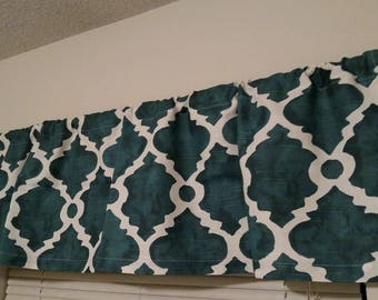 """Teal With White Quatrefoil Valance, 50"""" x 14"""" and 50"""" x 9.5"""", Ready To Ship"""