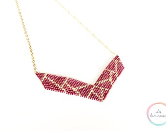 Burgundy wine & gold bib necklace