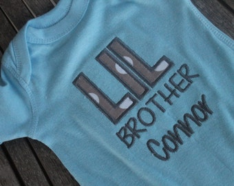 Personalized Onesie Applique Little Brother Applique Customized Embroidered Monogram Baby Infant Toddler Onsie Bodysuit T-Shirt
