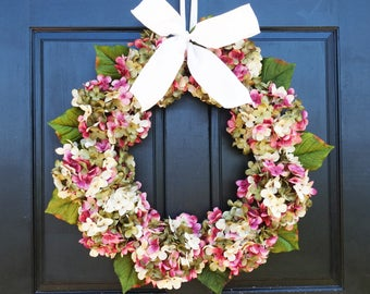 Green, Cream and Rose Pink Marbled Faux Hydrangea Wreath with Bow for Spring Summer Front Door Porch Decor; Small - Extra Large Sizes