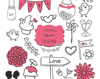Romantic Lovers wedding Collections Digital Clip Art, Buy 2 Get1 Free, Baby Bird,Pink Flowers,gift,Cople Mug heart, Instant Dowmload
