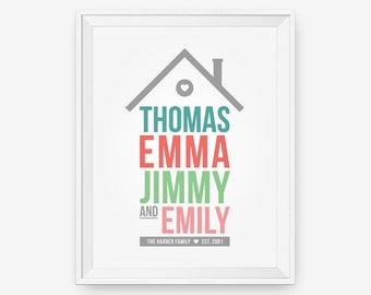 Personalized Home Family Print, Family Art, Children Decor, Nursery Wall Art - Different Size -