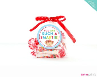 Instant Download You Are Such A Smartie Printable Party Circles, School Party Favor Tags, Teacher Treats, Favor Tags, Smarties Party Circles