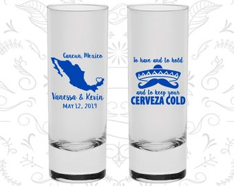 To Have and to hold and keep your cerveza cold, Cheap Shooter Glasses, Mexico Wedding Shooters, Custom Shooters (241)