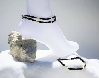 Duo bracelets ankle and wrist, women bracelet, jewelry, accessory for her bracelets black beads and gold tone