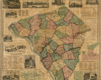 Lancaster County Pennsylvania 1858 - Old Wall Map with Homeowner Names - Genealogy - Reprint