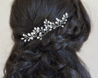 Freshwater Pearl Bridal Hair Accessories, Pearl Bridal Hair Pins, Teardrop Crystal Pearl Hair Pins, Wedding Hair Accessory, Set of 3