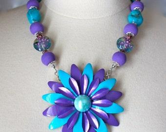Statement Necklace, Vintage, Enamel Flower, Turquoise, Purple, Plum, Silver, Teal, Glass,Reclaimed, Upcycled, Jennifer Jones, OOAK - Calypso