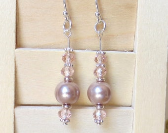 Pink Pearl Earrings/Sterling Silver/Pale Pink Crystals/Dusty Pink