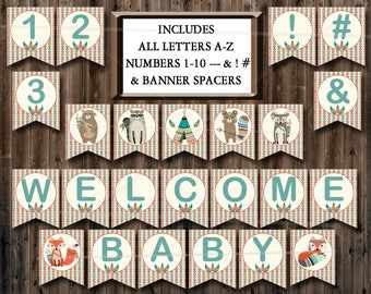 Tribal Animals Baby Shower Banner Printable Includes ALL LETTERS A-Z, Numbers 0-9, Spacers & symbols, woodland Shower, Instant Download 035