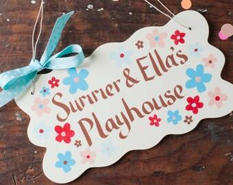 Personalised Wooden Door Sign - custom plaque - kids door sign - girls room decor - bedroom nursery sign - playhouse plaque - hand painted