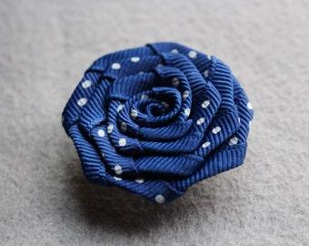 Blue polka dot flower lapel pin