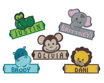 Choice of One of These Personalized Custom Animals Iron on Applique Custom Patch Holding a Sign