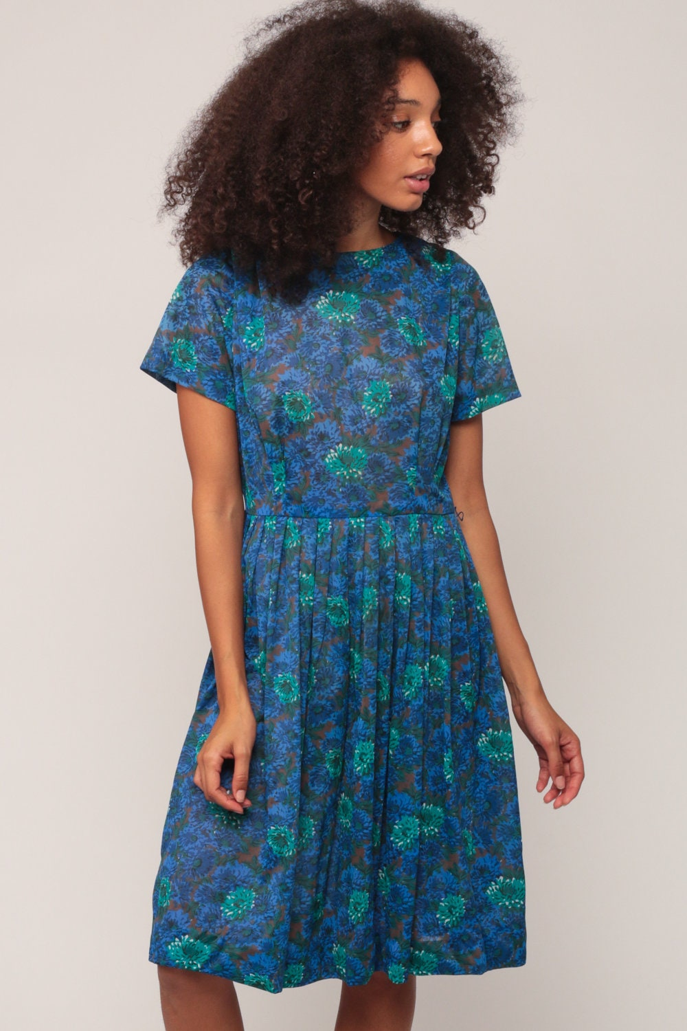 60s Floral Dress Midi PLEATED Mad Men 1960s Blue COTTON Day
