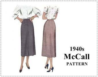 1940s Skirt Sewing Pattern - McCall 7243, 1940s Sewing Pattern - Misses Slim Skirt, A-Line, Front Slit Pleat, Fitted Skirt, Waist 28 Hip 39