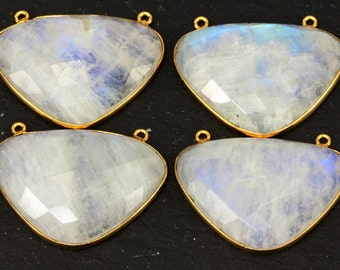 Moonstone Pendant Blue Fire  Focal Stone 24mm x 35mm Faceted Flashing Blue Fire; Two bail connector. KJ
