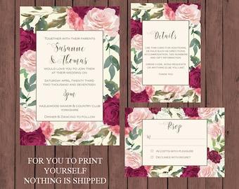burgundy wedding invitation suite, watercolour wedding invitation, Printable wedding invitation set, digital wedding invitation suite
