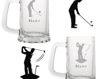 GOLF THEME Engraved Glass Tankard Personalised Name 3 Images &  Font Selection.