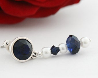 Indigo blue earrings with a touch of white. Dark blue earrings with crystal stone and white pearls.
