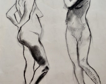 "Figure Drawing | Drawing of a Woman | Charcoal Drawing | Original Drawing | Handmade Drawing | Figurative Art | 18""x24"" Drawing"