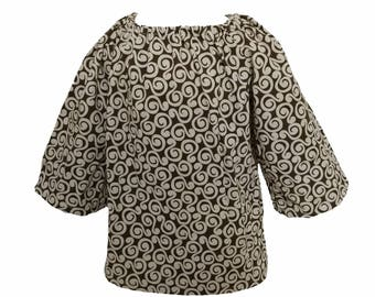 Swirl Print Peasent Dress