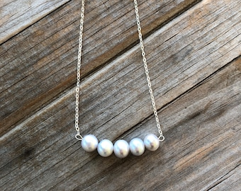 Grey Freshwater Pearl Necklace, Bar Necklace, Sterling Silver necklace, Beaded Pearl Necklace, Gift for Her, Gift for Women, Christmas Gift