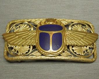 """Antique Art Nouveau Estate C1900 Bronze Doré Egyptian Scarab Lapis Blue Enamel Belt Buckle - 1"""" Belt"""
