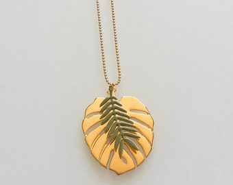 Necklace - green enamel and goldtone - Jungle Agathe and Ana