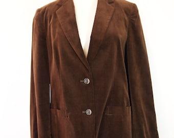 Womens Dark Brown Velvet Jacket/Blazer Sz 12