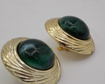 Vintage, gold tone Clip earrings and a large cabochon Green/Art Deco / shape circle/hoop earrings, Vintage, gift, Paris Vintage 1950S