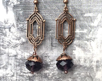 Neo-Victorian Bronze and Glass Bead Earrings