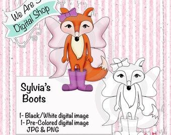 We Are 3 Digital Shop, Sylvia's Boots, Fox, Rain Boots, Fairy