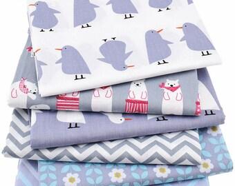 1pcs  Polar bear &  Penguin Cotton Fabric,Pure Cotton Printed Fabric - 20 Inch x 60 Inch