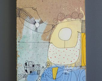 Hardboard placemats, painting, painting, art brut