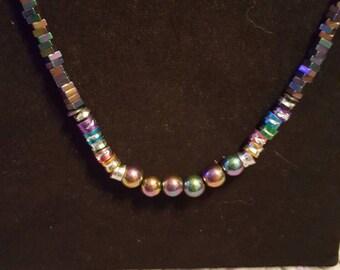 Rainbow hematite necklace